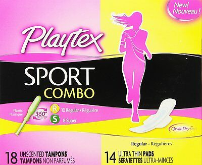 Playtex Sport Combo Pack Regular, Super Tampons & Ultra Thin Pads w/ Wings 32pcs