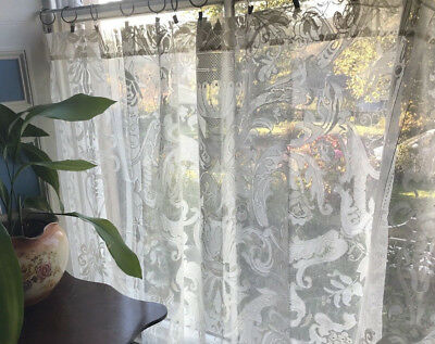 """Naomi Laura Ashley Period style Cream cotton lace curtain panel 72"""" by 120"""""""