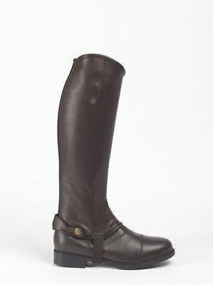 Brogini Stretch Riding Gaiters/Chaps Leather Look Close Contact BROWN