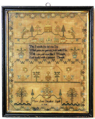 c1818, MARY STIRZAKER AGE 11, LARGE ANTIQUE 19thC GEORGIAN SAMPLER EMBROIDERY