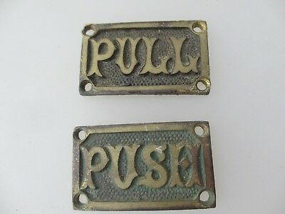 """Victorian Brass Door Sign Plaques """"PUSH"""" """"PULL"""" Architectural Antique Vintage"""