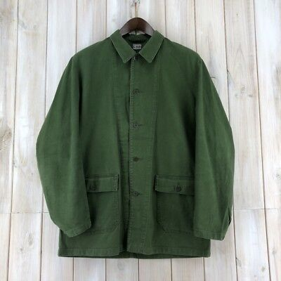 ede4d6414e8 Vintage Swedish Work Worker Chore Utility Jacket Green Army Military Field  M   L