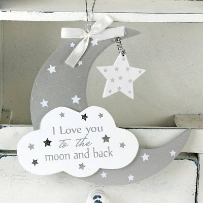 Twinkle Twinkle I LOVE YOU TO THE MOON Hanging Cloud Plaque Baby Nursery Decor