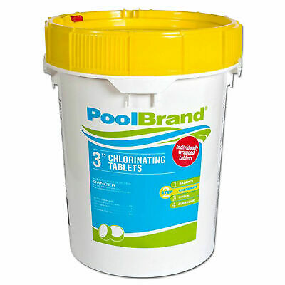 "Pool Brand 50 lbs. 3"" Inch Swimming Pool Chlorine Tablets"