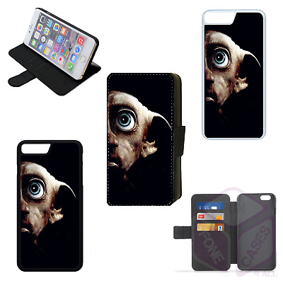 HARRY POTTER DOBBY Flip Phone Case Wallet Cover iPhone 4 5 6 7 8 Plus X (E)