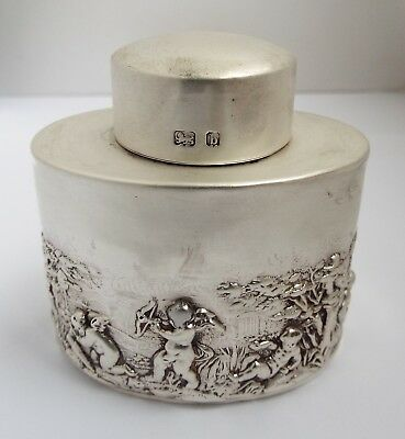 Decorative English Antique Victorian 1901 Solid Sterling Silver Tea Caddy Box