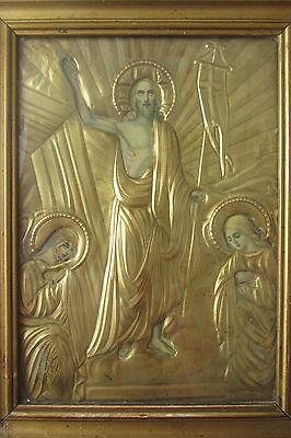 "Antique Russian icon with  bronze  oklad (Riza)  ""Christ's resurrection"""