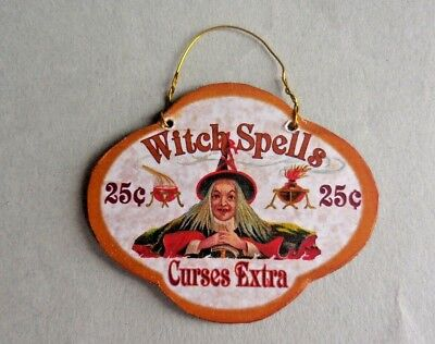 Dollhouse Miniature ~ Halloween ~ Witch Spell Hanging Sign Board