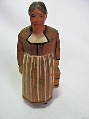 Vintage Hand Carved Figurine Small Woman with Bucket
