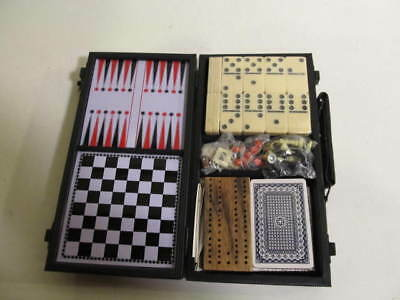 Travel Game Set Dominoes Chess Checkers Cards Cribbage Backgammon Instructions N