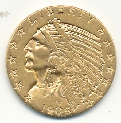 1909-D $5 Gold Indian Head Exact Coin Shown - Opens At .99C - Free Shipping