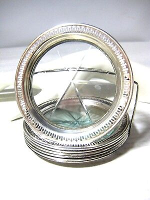 Vintage Sterling Silver and Glass Coaster Set of 6 in Caddy