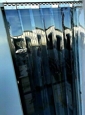 PVC STRIP CURTAIN DOOR  Stainless Hook On System 980mm wide x 2150mm long -150