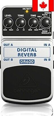 Behringer DR600 Digital Stereo Reverb Effects Pedal Package