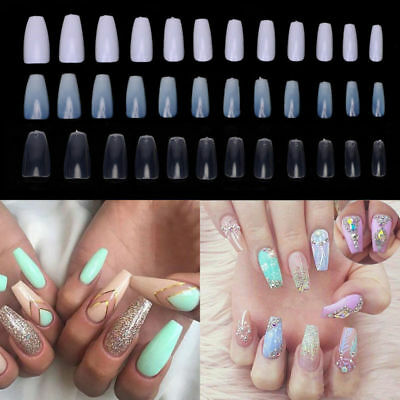 3 Color Long Ballerina Coffin Shape Art Tip Full Cover False Nail Pack of 600