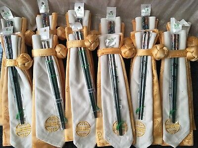 NEW Set Lacquered Chopsticks Place Setting Japan China Green Gold Floral Flowers