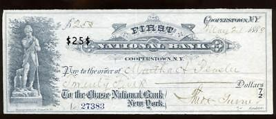 1889 Cancelled Bank Check With Vignette First National Bank, Cooperstown, Ny