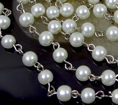 "40"" (3.3 feet) Platinum 6mm White Glass Pearl Bead Link Chain"