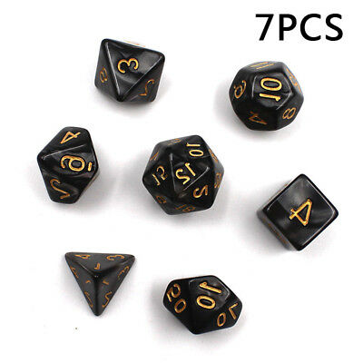 2018 7pcs 4/6/8/10/12/20/% Black Polyhedral Dice For DND RPG MTG Board Game D2
