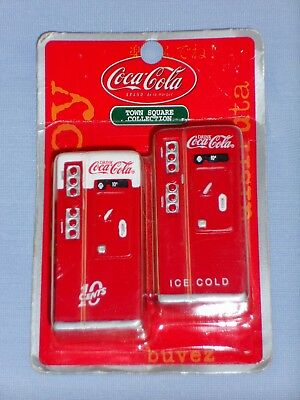 2001 TWO Coca-Cola Drink Miniature Machines Town Square Collection Metal NOC