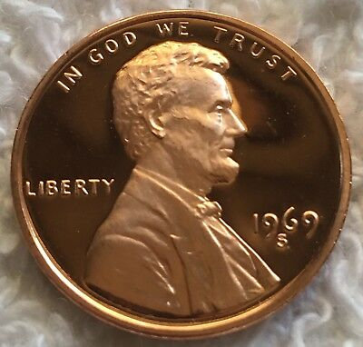 1969-S Proof Lincoln Cent Deep Cameo Pulled From U.s. Mint Set Wow Look