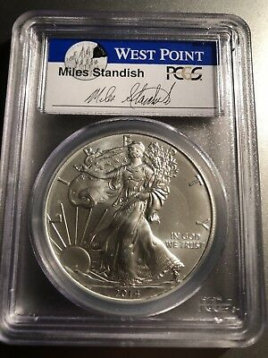 2014 W Silver American Eagle Dollar First Strike Miles Standish PCGS MS70