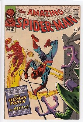 Amazing Spider-Man #21 Vol 1 Near Perfect High Grade Human Torch Appearance
