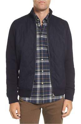 NEW Barbour Men's Culzean Quilt Front Wool Sweater Jacket in Navy - Size M