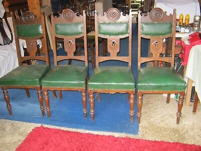 set of 4 oak art nouveau style dining chairs with sprung seats