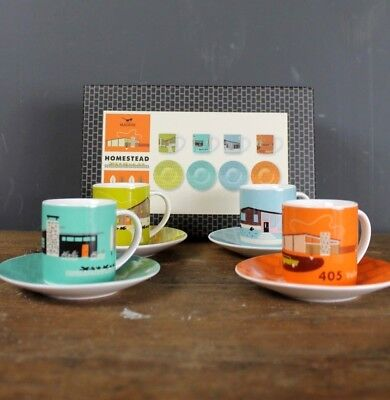 Magpie Boxed Espresso And Saucer Set Featuring Hollwood Hills 1950's Homes