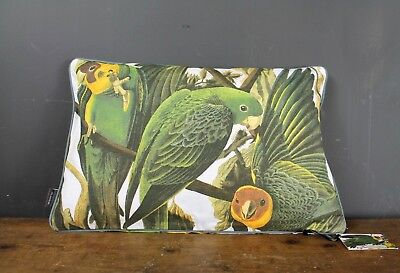 Vintage Style Birds Of America Green Parrot Scatter Cushion