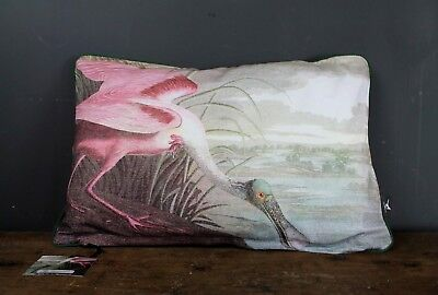 Vintage Style Birds Of America Pink Spoonbill Bird Double Sided Cushion