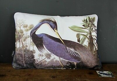 Vintage Style Birds Of America Heron Bird Double Sided Cushion