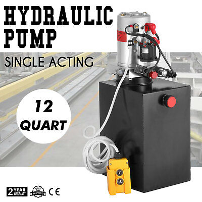12 Quart Hydraulic Pump Single Acting Metal Reservoir Unloading Dump Trailer