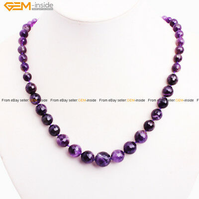 "Women 6-14mm Faceted Natural Graduated Stone Beaded Jewelry Necklace 18-22"" Gift"