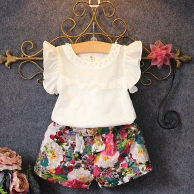 2-7Y Toddler Baby Summer Outfits Kids Girl T-shirt Top+Floral Short Pants Set UK