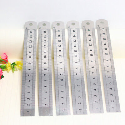 Stainless Steel Metal Ruler 15CM Straight Ruler Double Sided School Stationery