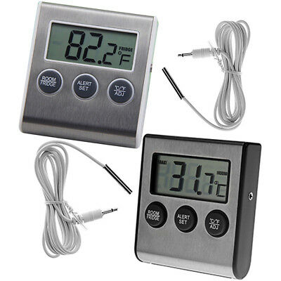Digital Refrigerator Freezer Thermometer Alarm High Low Temperature Lcd Display