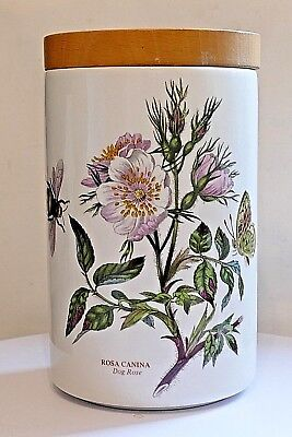 "PORTMEIRION Botanic Garden ~ 7"" Storage Jar ~ Dog Rose ~ 1972 Stamp & Good Seal."