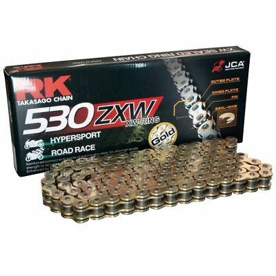 RK Gold Ultra-HD XW-Ring Motorcycle Bike Chain 530 ZXW 112 Links with Rivet Link