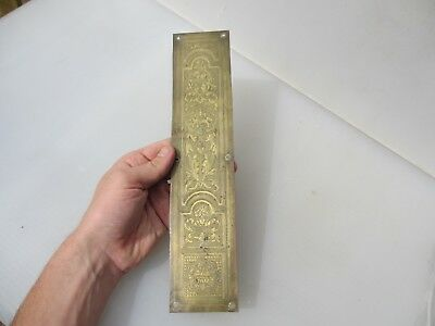 Antique Brass Finger Plate Push Door Handle Vintage Old Etched Gilt Pierced 1916