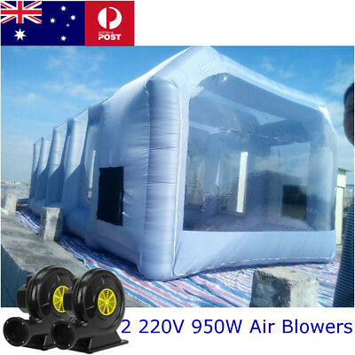 Portable Inflatable Tent Paint Spray Booth Workstation + 2 Blowers Kits 7*4*2.5M