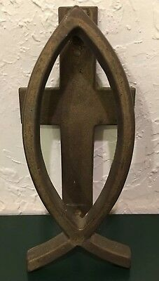 Antique Vintage Heavy Bronze Or Brass Christian Cross & Fish House Door Knocker