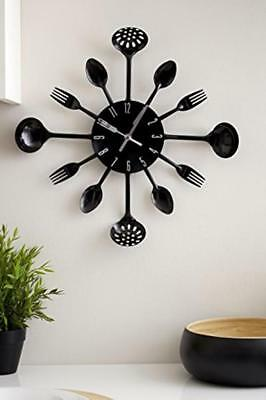 Wall Clock Large Kitchen Cutlery Kitchenware Design Spoons Forks Black Gift Idea
