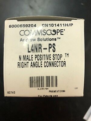 "L4Nr-Ps, Connector, Positive Stop Right Angle N-Male For 1/2"" Coax"