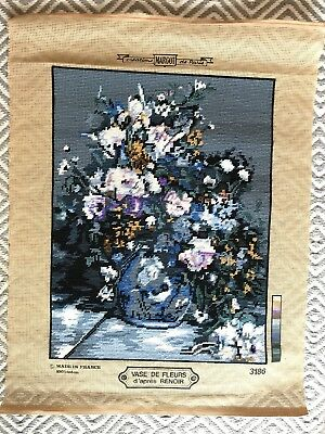Completed Needlepoint Embroidery Flowers in Vase French Margot De Paris Renoir