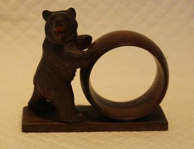 Wooden Black Forest Bear with Ring Hoop