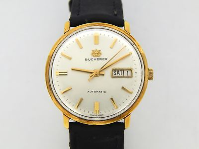 Vintage Mens Bucherer Yellow Gold Tone Day Date Automatic Watch Swiss Made