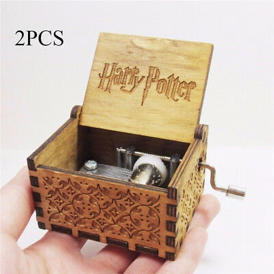 2PCS Tiny Harry Potter Wooden Hand Engraved Music Box Fun Toys Kids Gifts