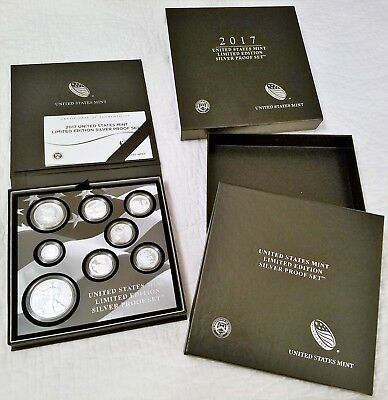 2017 S US Mint Limited Edition Silver Proof Complete 8 Coin Set